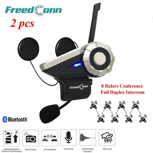 2 Set Latest T-Rex Interphone Bluetooth Helmet Intercom Headset 8 Riders Full Duplex Motorcycle Group Talk System 1500M+FM Radio