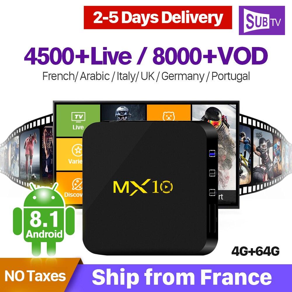 MX10 IPTV França Árabe 1 Ano Código de IPTV Android 8.1 RK3328 4 + 64G SUBTV Assinatura IPTV Holanda Bélgica IP TV Itália 4 K