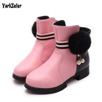 Yorkzaler Winter Children Boots 2017 Fashion Warm Soft Slip Resistant Popular High Top Shoes White Red
