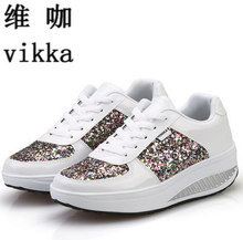 2017 Cool Gold Sequined Spring/Autumn Shoes Women Casual Shoes Sport Fashion Walking Shoes Swing Wedges Shoes Woman Ankle Boots
