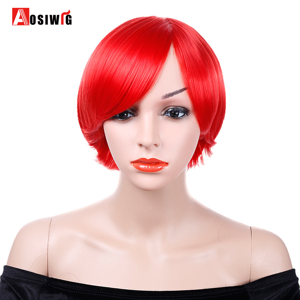 Short Straight Wig Black Red Blue 9 Colors Costumes Party Heat Resistant Natural Synthetic Hair Cosplay Wigs AOSIWIG