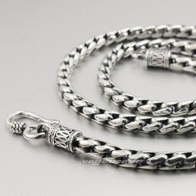 925 Sterling Siver Mens Biker Rocker Punk Necklace 8K004 Free Shipping
