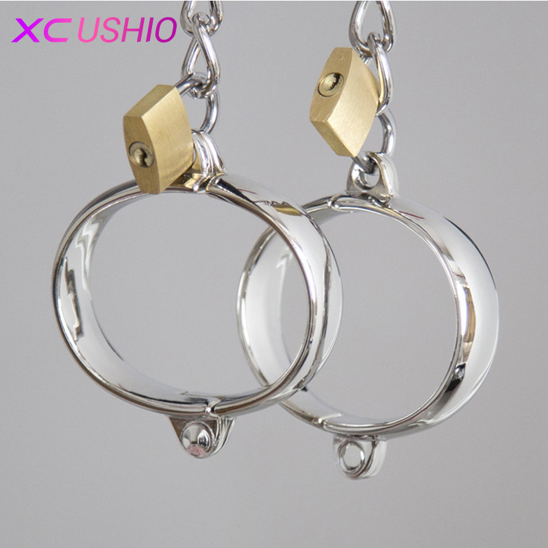 1 Pair Stainless Steel Female Male Handcuff Metal Ankle Cuffs Wrist Cuff For Couple bdsm Bondage Restraints Adult Game Sex Toys1 Pair Stainless Steel Female Male Handcuff Metal Ankle Cuffs Wrist Cuff For Couple bdsm Bondage Restraints Adult Game Sex Toys