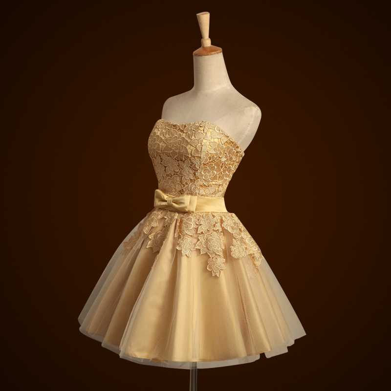 Short Satin Lace Bridesmaid Dress Gold Strapless Knee