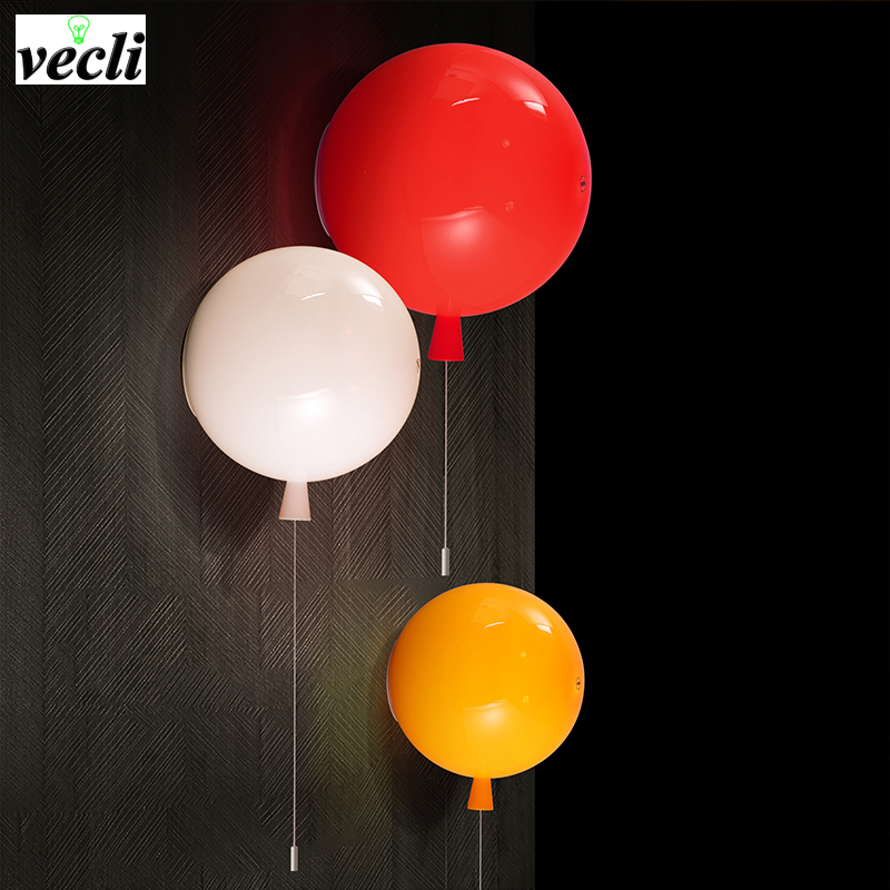 Balloon Lamps Children Wall Lamps Pull Switch Bedroom Bedside corridor Lighting ,baby child room lamps ecoration wall sconce bra