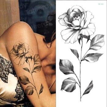 temporary tattoo sticker flower peony rose sketches tattoo designs sexy girls model tattoos arm leg black henna stickers women 4