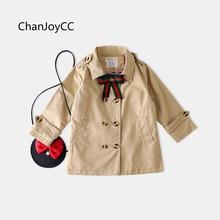 Baby boy girls 2017 Autumn Children fashion clothing korean solid classic bow tie button windbreaker coat cotton 100% hot sale