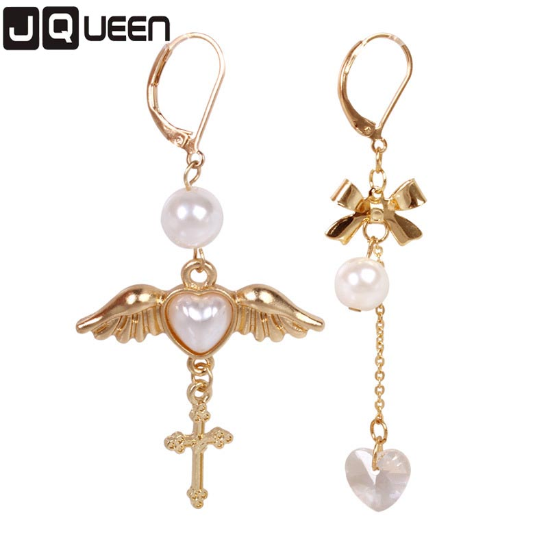 2017 Vintage Gold Color Cross Angle Wing Imitation Pearl Pendant Drop Earrings Lovely Angel Wing Asymmetry Women Brincos 1 Pair