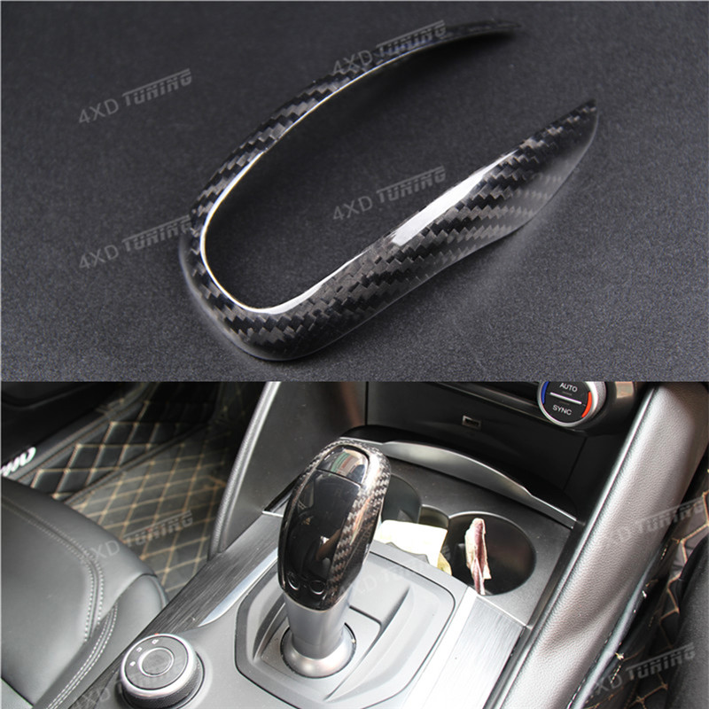 For Alfa Romeo Carbon Gear Shif Knob Cover Carbon Fiber Gear Knob Cover Trim Only fit Left Hand Drive car For Decoration car acessories carbon fiber interior cover trim fit for bmw all models hand brake knob with m logo car styling