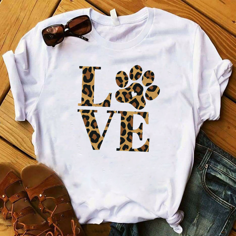 Fashion Women T Graphic Top Tshirt Love Dog Leopard Printed Summer Cute Letters Female Tee Shirt Femme Ladies Clothes T-shirt