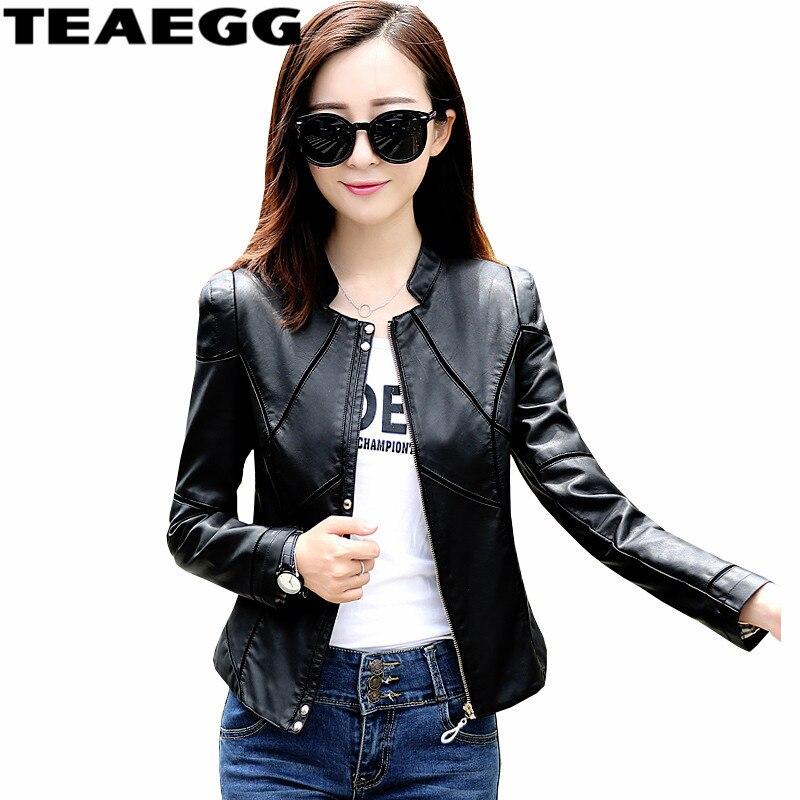 TEAEGG Plus Size 2019 Fashion   Leather   Jacket Women Motorcycle PU   Leather   Jackets Female Spring Black Chaqueta Cuero Mujer AL686