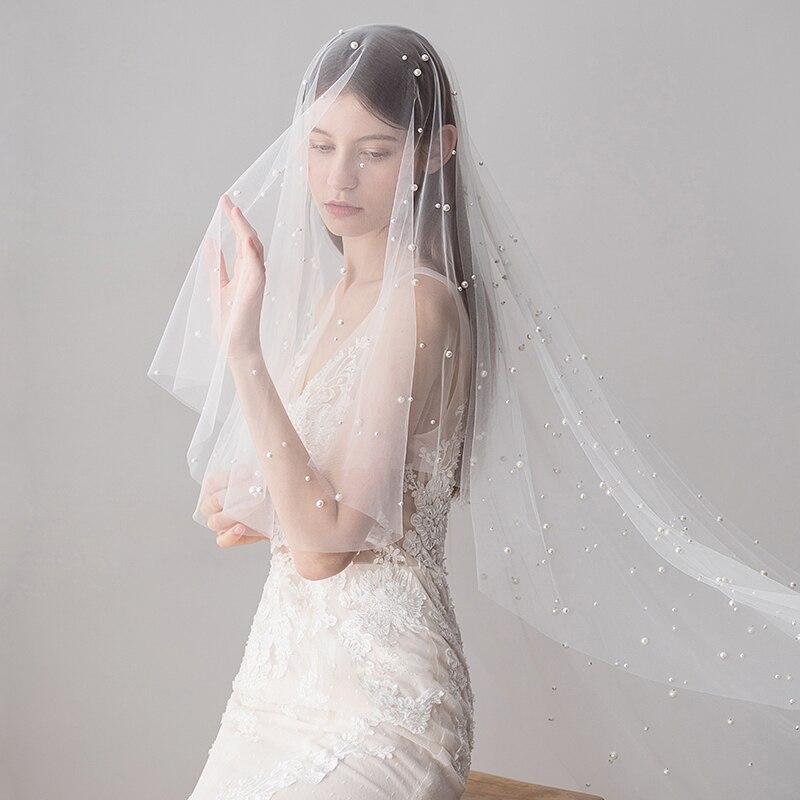Long Bridal Veils Ivory Pearl Wedding Veils Cut Edge Bridal Veil with Comb Bridal Hair Accessories Bride Mantilla Wedding Veil