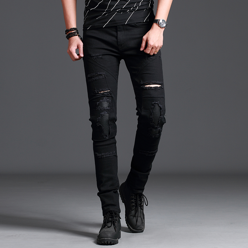 Street mens knee height thigh jeans hole pleated by motorcycle pants street elastic roller skating mens casual exquisite comfo