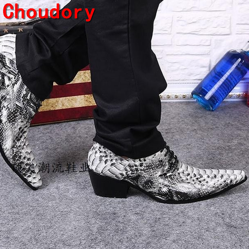 Choudory italian creepers Casual New 2018 Mens Shoes Leather Shoes Men Snake Skin Oxford Fashion Lace Up Dress Shoes Sapatos new fashion black snake skin mens casual shoes round toe lace up flats loafers street style party dress shoes tenis feminino 46