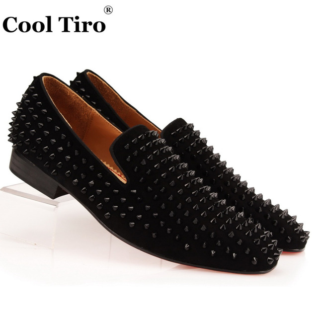 29e7c9ca96c COOL TIRO Studded Stuts Black Spikes Loafers Men Smoking Slipper Casual  Shoes Suede Mens Dress Shoes