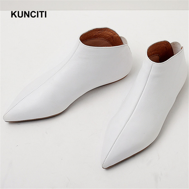 2019 KUNCITI Genuine Leather Soft Skin Spring Pointed Toe Slip On Casual Flats Young Lady Pregnant