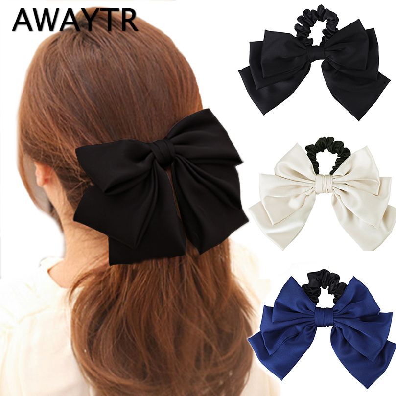 AWAYTR New Bow Ribbon Hair Scrunchie Women Korean Elegant Hair Rope Wild Handmade Elastic Hairband Girls Hair Accessories