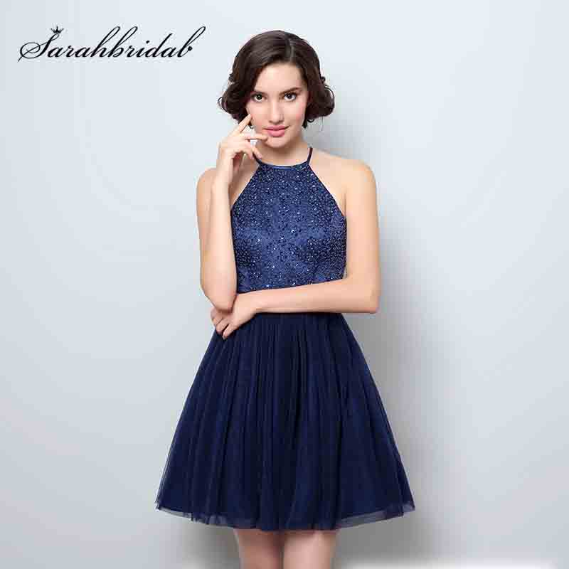 2018 Hot Sale Graduation Homecoming Kjoler Mini Glitter Tulle Halter Åpen Tilbake Prom Party Kjole Luksus Cocktail Kjoler OS352