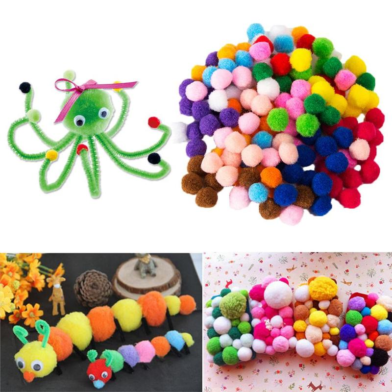 2000Pcs 8mm Mixed Color Soft Fluffy Pompoms Ball For Kids Crafts DIY Snow Balls Childrens Pom Ball Handmade Crafts Accessories