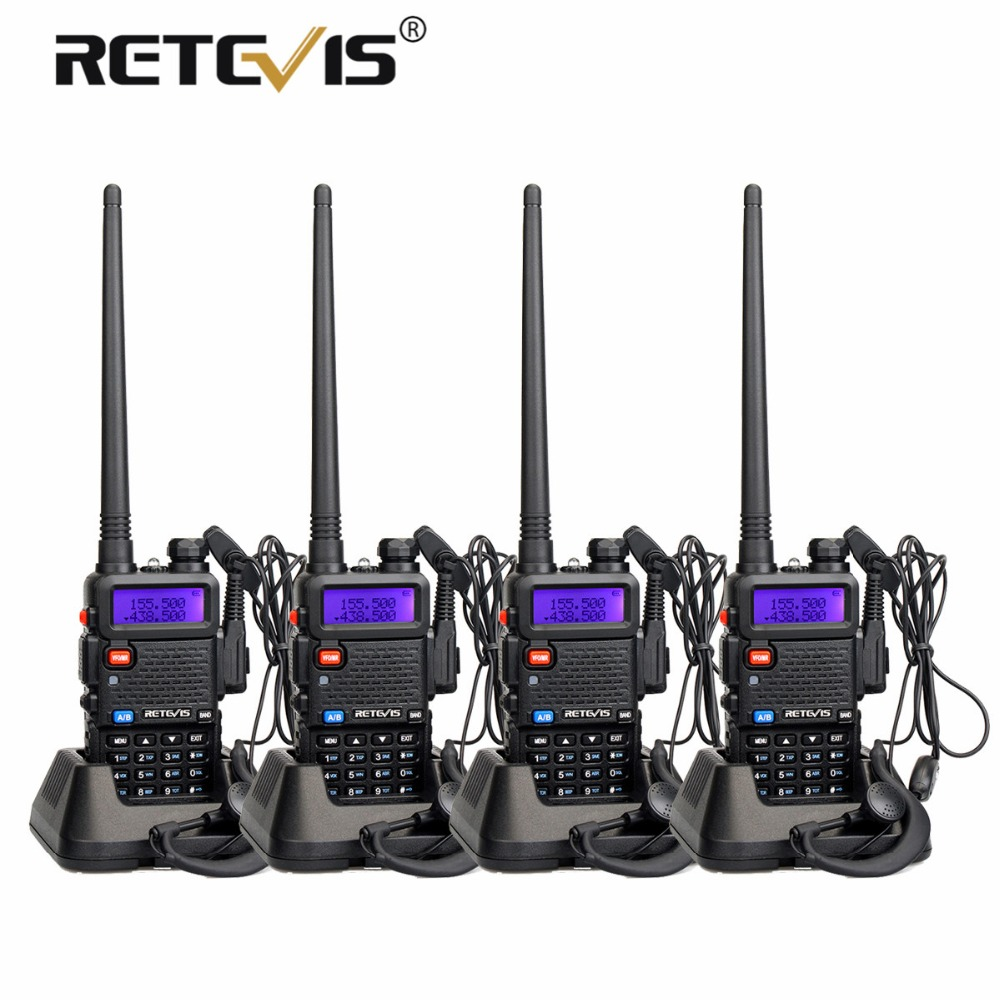 4 pcs Portable Radio Talkie Walkie Retevis 5 w RT5R 128CH VHF UHF Dual Band Amateur Radio Hf Émetteur-Récepteur 2 way Radio Station RT-5R