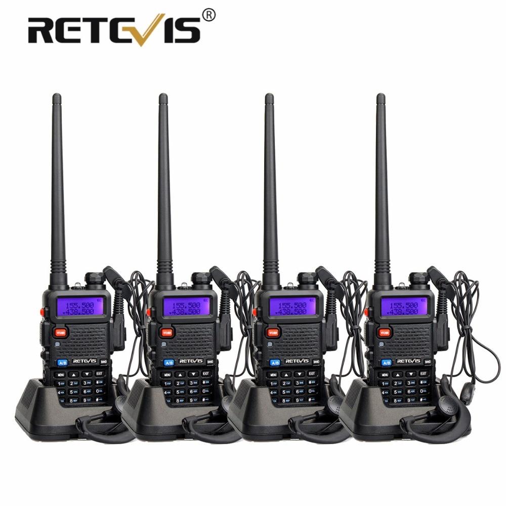 4 pz Radio Portatile Walkie Talkie Retevis 5 w RT5R 128CH VHF UHF Dual Band Amateur Radio Hf Ricetrasmettitore 2 way Radio Stazione di RT-5R