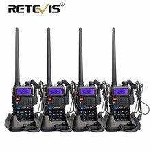 4pcs Portable Radio Walkie Talkie Retevis 5W RT5R 128CH VHF UHF Dual Band Amateur Radio Hf