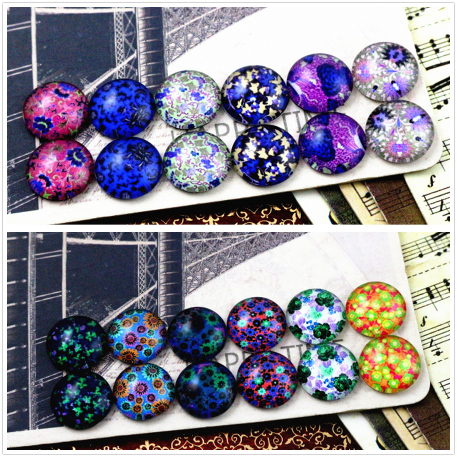 12pcs/lot (One Set) Two Style 12mm Dark Colors Flowers Handmade Glass Cabochons Pattern Domed Jewelry Accessories Supplies