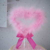 Romantic Pink Feather Love Heart Cake Topper Cake Decoration Valentine's Day Gift Wedding Birthday Party Decor Christmas