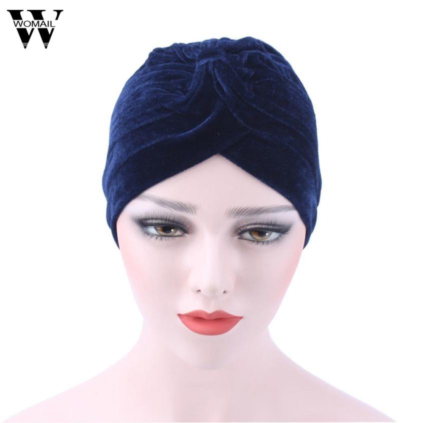 Turban Head Wraps for Women · 2017 Women Velvet Muslim Ruffle Cancer Chemo  Hat Beanie 3c1422fafd6