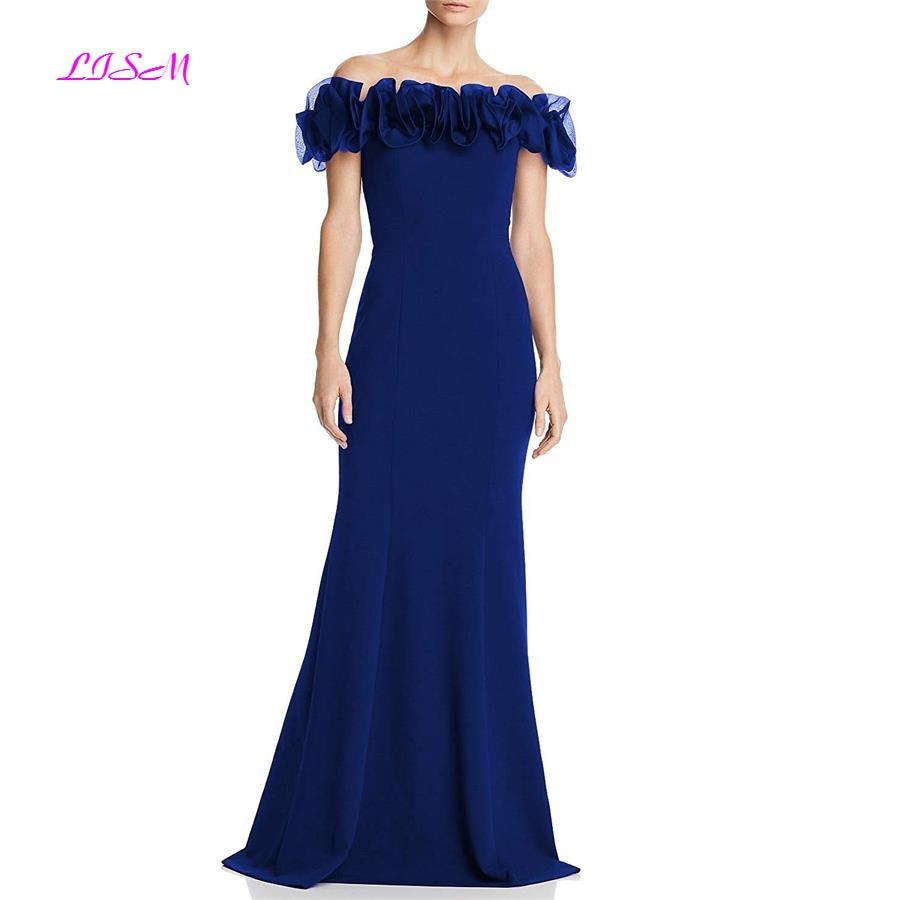 Navy Blue Off the Shoulder Ruffled Mermaid Evening Dresses Long Satin Formal Party Gowns Sweep Train abiti da cerimonia da sera