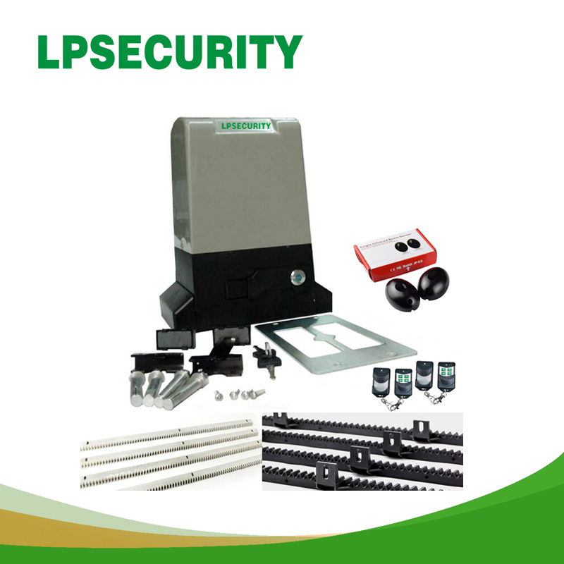LPSECURITY AC Electric Sliding Gate Opener Motor Automatic Gate Opener Auto Openers 800kg/1500kg 4m/5m racks 1photocell automatic sliding gate opener for home automation 1000kg