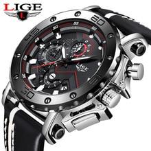 New LIGE Mens Watches Top Brand Luxury Military Sport Watch Mens Leather Waterproof Watch Analog Quartz Watch Erkek Saat + Box charles hubert paris mens quartz watch 3771 b