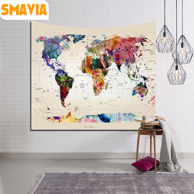 smavia world map tapestry 100 polyester wall hanging tapestry indian mandala throw blanket beach towel