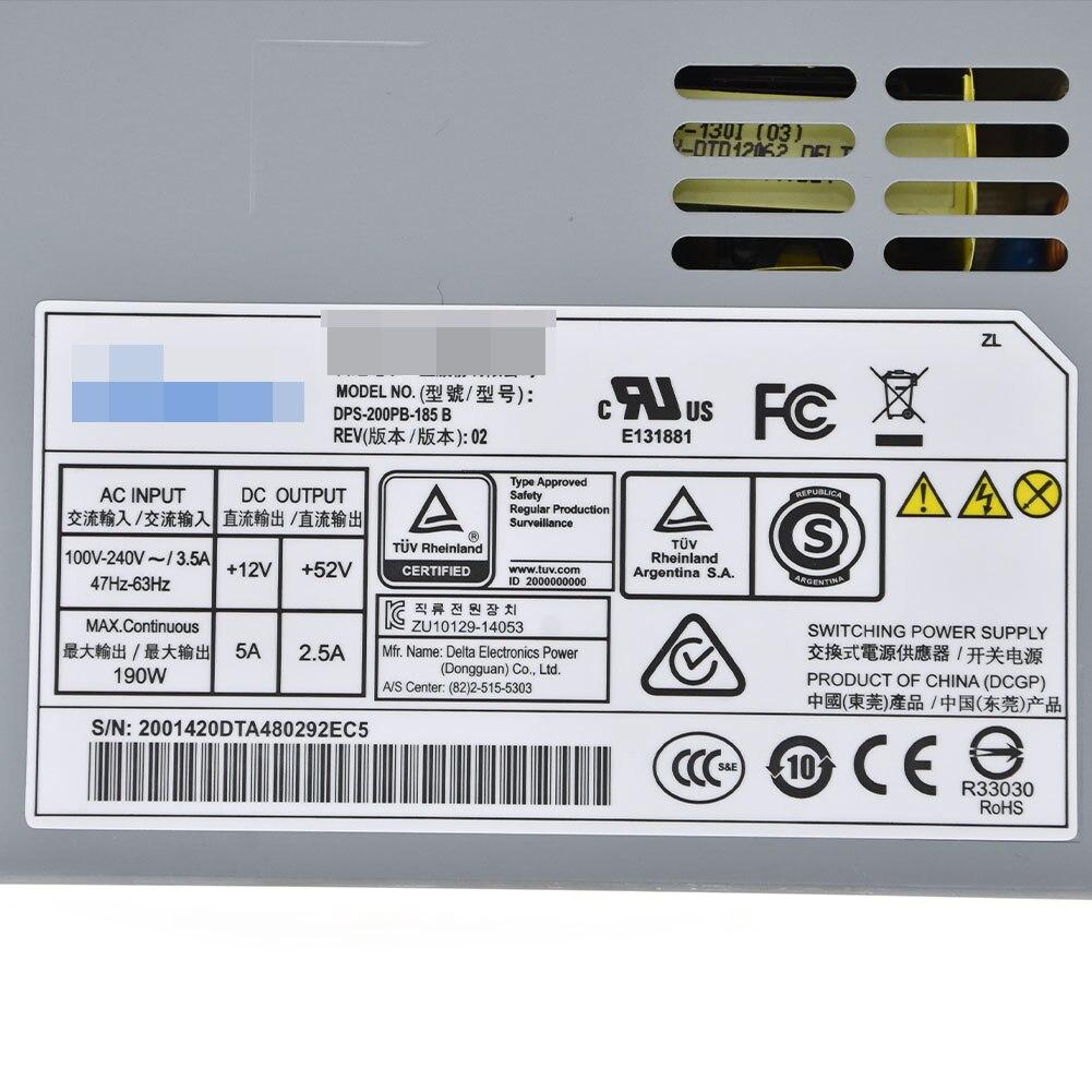 52V 2.5A TESTED Delta DPS-200PB-185 Power Supply 190W PSU Hikvision 12V 5A