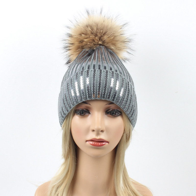 c948ea2b04e96c Fashion Sequin Women Knitted Hat Real Raccoon Fur Pompom Winter Ha...