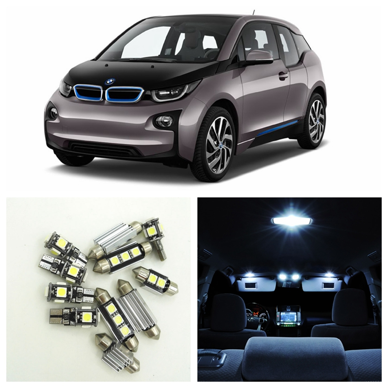 13pcs White Canbus Error Free Car LED Light Bulbs Interior Package Kit For 2014 2015 BMW i3 Map Dome Trunk License Plate Lamp 2pcs lot 24 smd car led license plate light lamp error free canbus function white 6000k for bmw e39 e60 e61 e70 e82 e90 e92
