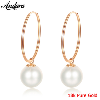7-7.5mm Natural Freshwater Pearl 18K Gold Earrings Fashion Woman Round Circle Hoop Earrings