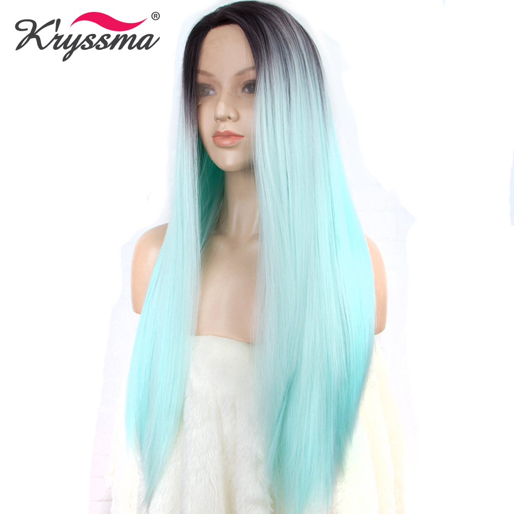Mint Green Synthetic Lace Front Wig for Women Long Silky Straight Blue Ombre Wig Mixed Color Roots Heat Resistant Fiber L Part