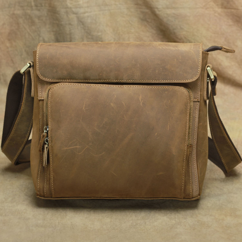 High quality men 100% genuine leather messenger bag cow leather handmade vintage cross body bag CLASSIC shoulder bags for men-in Crossbody Bags from Luggage & Bags    1