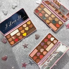 HOJO Heart-shaped Chocolate Eyeshadow Matte Eye Shadow Palette Pressed Highlighter Glitter Powder Pallete Sunset