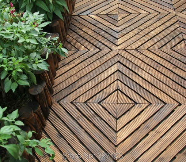10 X Outdoor Water Proof Fir Wood Interlocking Tiles Flooring Wooden Slats Pool Fast Shipping By Fedex Dhl