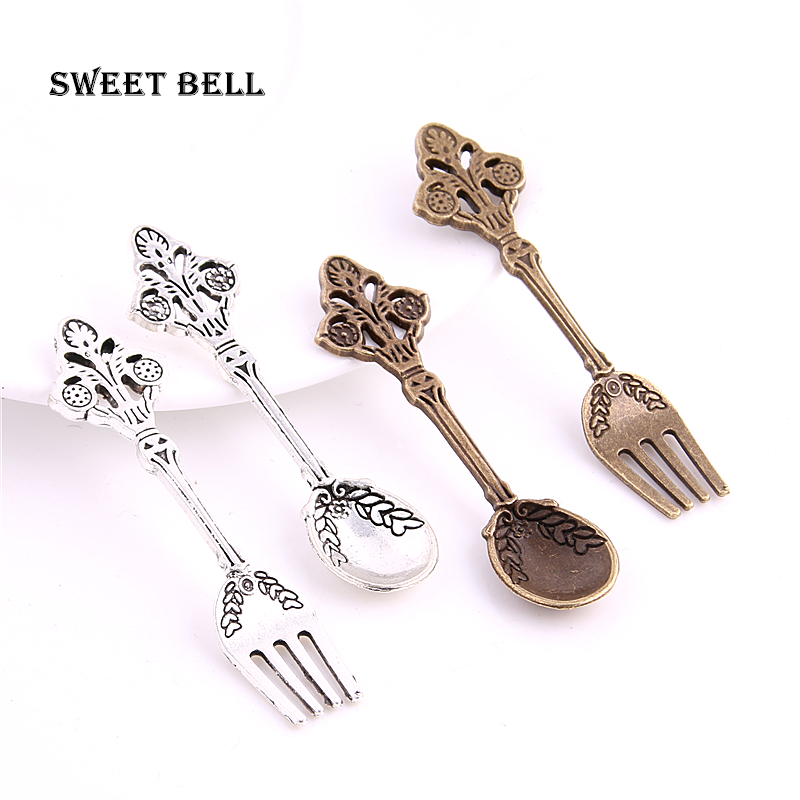 SWEET BELL 10set 20pcs two color Alloy Fork and Spoon ...