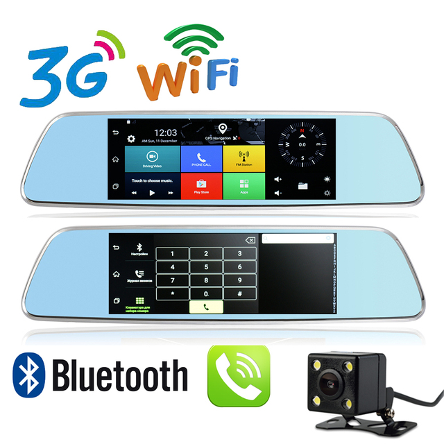 Nueva 7 pulgadas 3G GPS DVR Android 5.0 WiFi Hotspot Bluetooth Teléfono llamada Full HD 1080 P Espejo Retrovisor de Doble Cámara 1G RAM GPS DVR