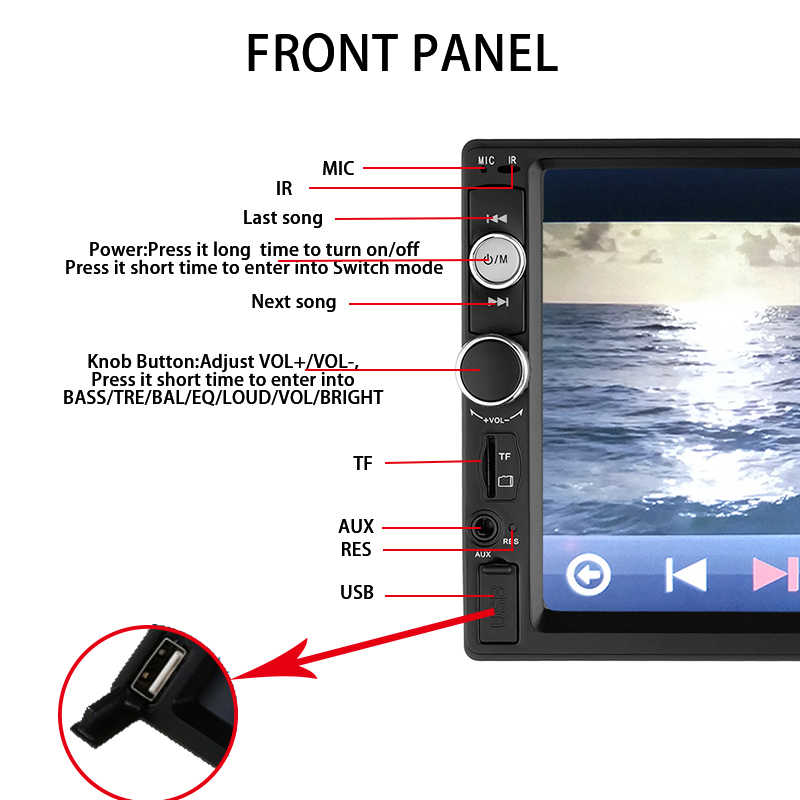 """Double Din Mobil Stereo Auto Radio 2 DIN Mobil Radio 7 """"HD Multimedia Player Menyentuh Layar Auto Audio Stereo Mobil bluetooth FM Android"""