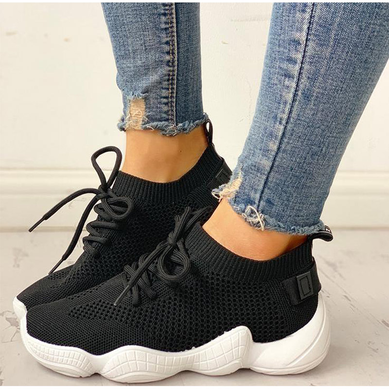 HTB1r1hGSzTpK1RjSZKPq6y3UpXaF Women Mesh Spring Sneakers Ladies Lace Up Stretch Fabric Platform Flat Vulcanized Casual Shoes Female Breathable Fashion