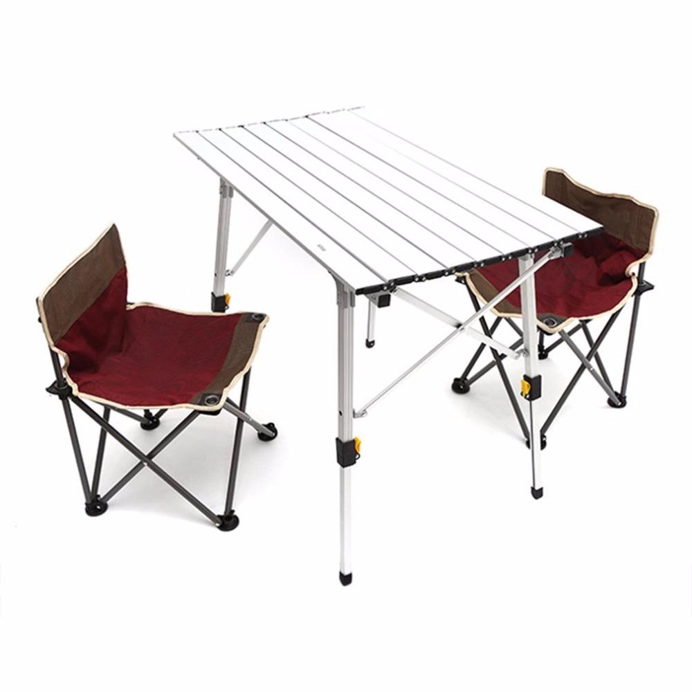 Folding camp table and chairs - Portable Folding Camping Table Aluminum Alloy Height Adjustable Rolling Table For Outdoor Camping Picnic Stain