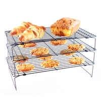 3 couches en métal empilable refroidissement Rack haute qualité gâteau Cookie Biscuits pain refroidissement Rack Net Mat titulaire sec refroidisseur cuisson