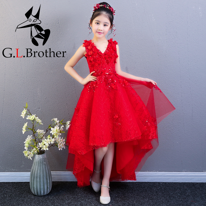 Red Flower Girl Dresses For Wedding Ball Gown Floral Princess Prom Dress Short Front Long Back Kids Pageant Dress For Birthday tiny floral back slit pencil dress