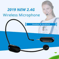 2.4G Wireless Microphone Headset MIC Megaphone Loudspeaker 2 in 1 Handheld Portable for Speach Conference 3.5mm Plug Receiver