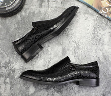 QYFCIOUFU New Brand Slip On Men Luxury Patent Shoes Oxford Genuine Leather Shoes High Quality Cow Leather Carving Business Shoes